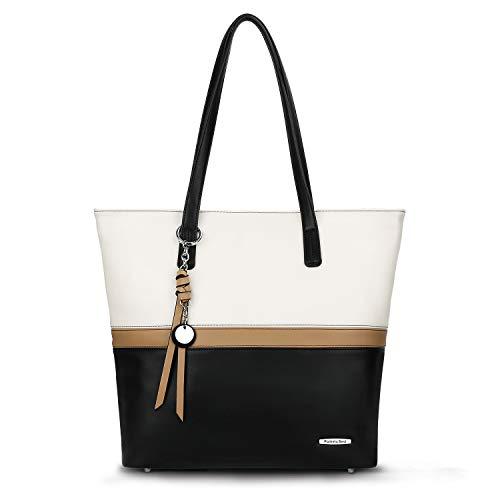 Schwarze Tote Handtasche (Pomelo Best Damen Handtasche Mehrfarbig gestreift Umhängetasche Tote-Tasche (Schwarz))