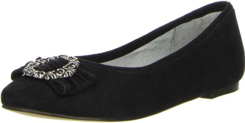 Vista Damen Trachtenschuhe Almhaferl Ballerinas schwarz, Größe:38;Farbe:Schwarz