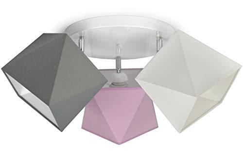 Deckenleuchte Kinderlampe Stern für Kinderzimmer Jugendzimmer verschiedene Farben Stoff Lampenschirme 299-G3 (299-G3 Glatt, Grau-Rosa-Weiß)
