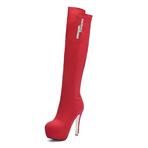 VogueZone009 Damen Rein Blend-Materialien Niedriger Absatz Reißverschluss Rund Zehe Stiefel, Rot, 36