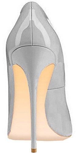 ELEHOT Femme 12cm Taille EU 34-46 Toyque Aiguille 12CM Synthétique Escarpins Gris