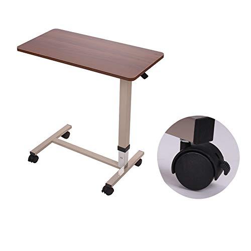 QULONG Nicht-Tilt Overbed Tisch Mit Rollen Höhenverstellbar 31.3-43.3In Hydraulische - Locking Laufräder - Laptop-Tabelle Für Bett, Bett Tabletts Für Essen,Brown -