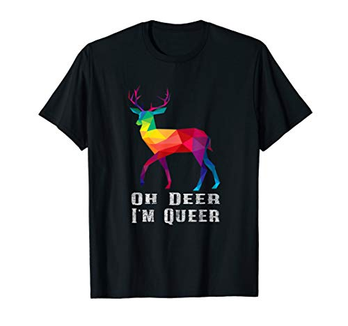 Oh Deer I'm Queer Distressed Pride Ally Gay Lesbian T-Shirt (Gay Ally Shirt)