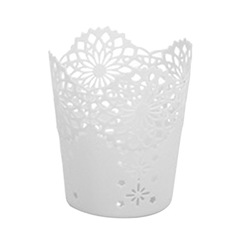 Oyfel portapenne bicchiere di plastica da scrivania contenitore portaoggetti per ufficio scuola casa forniture pennelli trucco vaso pentola multi colori, white, 10*11.5*7.5cm