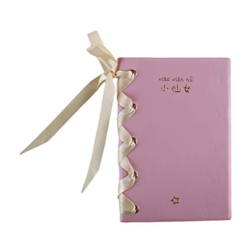 WEILYDF Ribbon Notebook Classic Pink Hard Cover Einfache Notebook Süße süße Mädchen Lace-Up Notebook Büro Business Notepad -