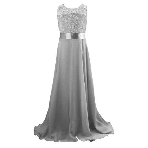 discoball Mädchen Chiffon Blumen Bodenlang Kleid Grau, ca.11-12 Jahre