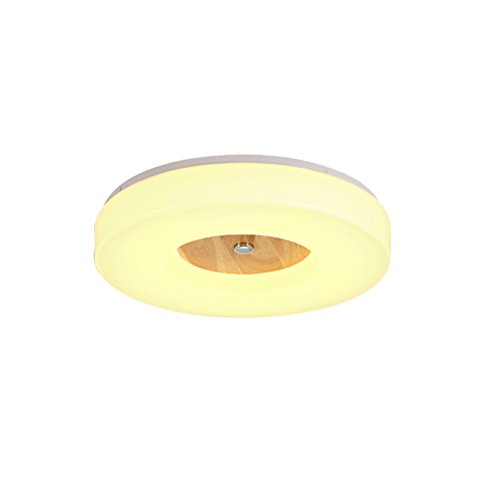 18W Einfach Modern Runde LED Deckenleuchte Acryl Lampenschirme Deckenleuchten Gummi Holz Deckenlampe Leuchten fur Schlafzimmer Arbeitszimmer Lampe Ø340MM 4500K 220V IP20 (Syn-gummi)