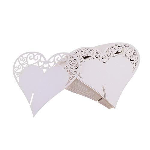 Flowow 100x cuore decorazioni perlato bianco segna posto segnaposto segnatavolo segnabicchiere bomboniera per matrimonio compleanno nascita laurea festa natale segna posti segnaposti