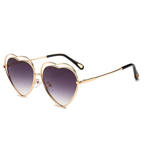 YWYU Neue Metall Ausschnitt Sonnenbrillen, Liebe Brille, Damen herzförmige Mode Sonnenbrillen UV400 Strahlung Gläser für Shopping Beach Party (Farbe : C)