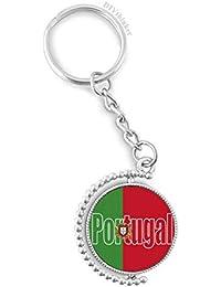 DIYthinker Portugal Bandera de País Nombre rotativo Titular de la Clave Anillo de la Cadena