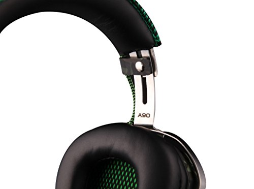 SADES A90 Pilot 7.1 USB Surround Sound Stereo Professional Wired PC Gaming Headset Over-Ear Headband Headphones with Retractable HiFi Microphone Volume Control Remote Metal Machine Design Six Colors Breathing LED Lights(Army Green)