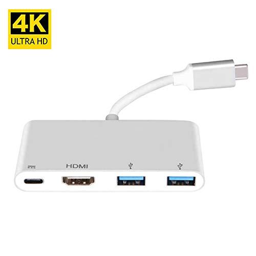 annotebestus USB C auf HDMI Adapter 4K, Audio/Video AV Konverter Kompatibel mit HDMI-Fähigen Fernsehern/Monitoren/Projektore, 5 Gb/s 2 USB 3.0 für Maus/Tastatur/Kamera/USB-Kabel