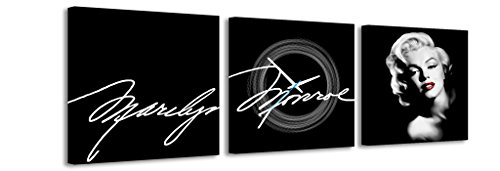 Quadrato Orologio de parete Firma Marilyn Monroe faccia sfondo nero in bianco e nero la firma