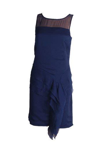 Jessica Simpson Women's Illusion Tiered Ruffled Crepe Dress (4, Peacoat) Jessica Peacoat