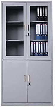 Cabinet Four Door, Glass and Steel build - Grey - W90 X D40 X H185 Cm, GDF-FC 06 by Galaxy Design