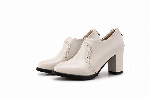 Mee Shoes Damen modern elegant runder toe Geschlossen Reißverschluss Spitze Ankle-Stiefel Beige