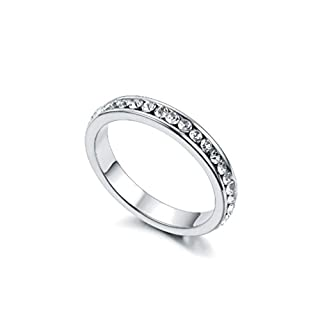 RedFly Clear Tiny CZ Crystal 18ct White Gold Plated Women Wedding Engagement Rings, Size M