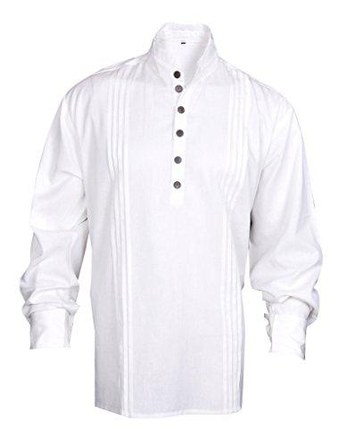 MyGothicShop Shirt Pirata Rinascimentale Uomo Medievale Caraibi Hippie Costume Large Size Bianco Sporco