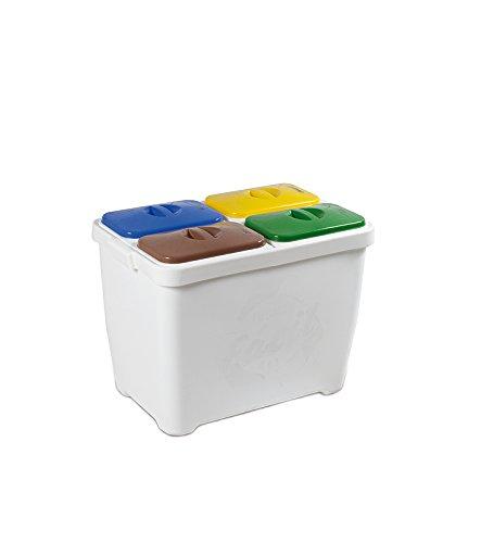 Transforma - Contenedor Recicla Facil 4 Residuos 80L, Talla 37 X 58 X 45 Cm