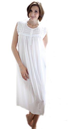 Cottonreal Viktorianisches 100% Baumwolle ärmelloses Nachthemd - XS - XXL Weiß