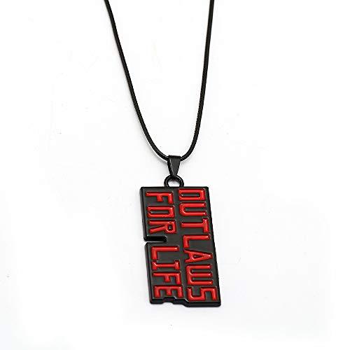 Kostüm Herren Outlaw - DADATU Halsketten für Herren Rote Tote Erlösung Halskette Outlaws Für Das Leben Metall Anhänger Seil Kette Halsband Halsketten Spiel Schmuck