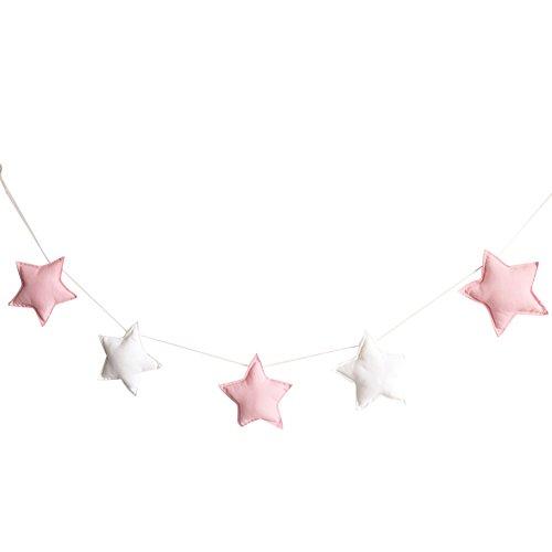 Homeofying Nordic 5 Stück süße Sterne Hängeornamente Wimpelkette Party Kinderzimmer Dekoration für Baby Jungen oder Mädchen, stoff, Rosa/Weiß