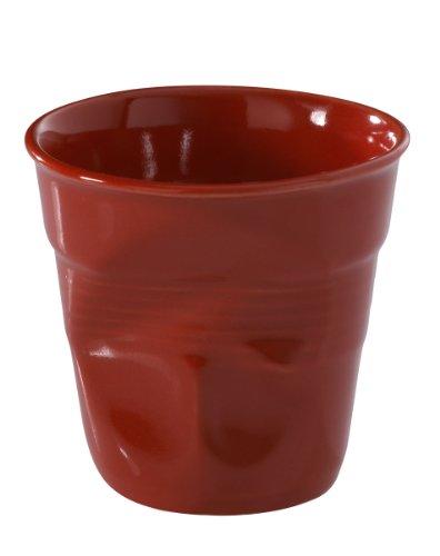 REVOL RV619088 Tasse espresso froissé porcelaine, rouge, 6.5 x 6.5 x 6 cm