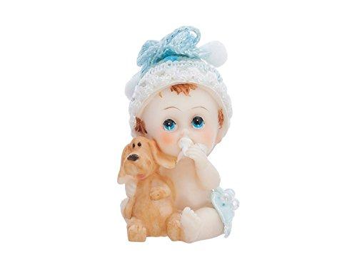 Tortenaufsatz Babyfigur 6cm Baby Junge mit Hund Farbe blau aus Polyresin Taufe Dekoration Tortendeko Kuchenaufsatz Kuchendeko Kindergeburtstag Babyparty Tortenfigur Baby Figur Torte