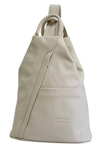 AMBRA Moda echt Leder Damenrucksack CityRucksack DayPack NL606R (Beige Creme)