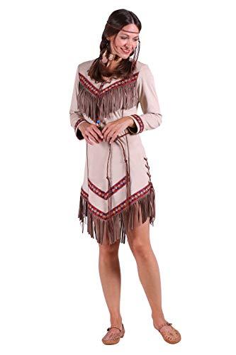 Günstige Pocahontas Kostüm - Indianer-Kostüm Damen Indianer-Kleid hell-braun mit Fransen