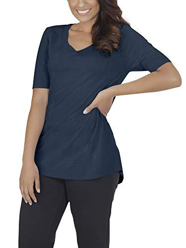 Blue Womens V-neck T-shirt (Fruit of the Loom Damen Women's Essentials All Day Elbow Length V-Neck T-Shirt, T.Blue Heather, Klein)