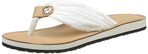 Tommy Hilfiger Damen Leather Footbed Beach T-Spangen Sandalen, Weiß (Whisper White 121), 38 EU