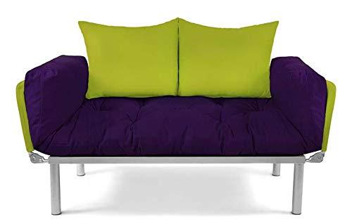 EasySitz Schlafsofa Sofa 2 Sitzer Schlafsessel 2-sitzer Personen Zweisitzer 2er Sitzen mit Bettkasten Futon Kissen für EIN Einer er Mein Klappsofa (Aubergine & Grün)