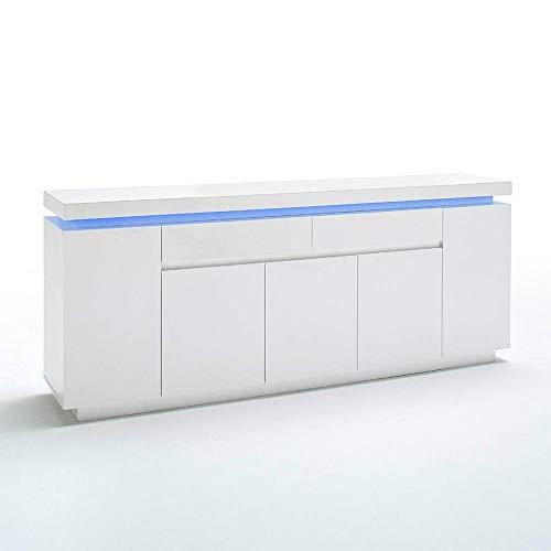 INSIDE Buffet Ocean laqué Blanc Brillant 5 Portes 2 tiroirs LED Blanc Inclus