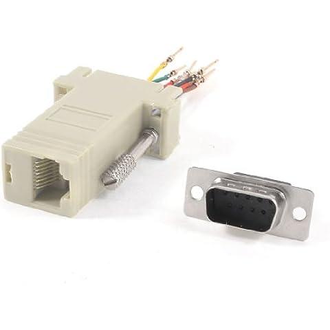 RS232 DB9 Conector Macho a RJ45 Hembra Adaptador De Ethernet Gris