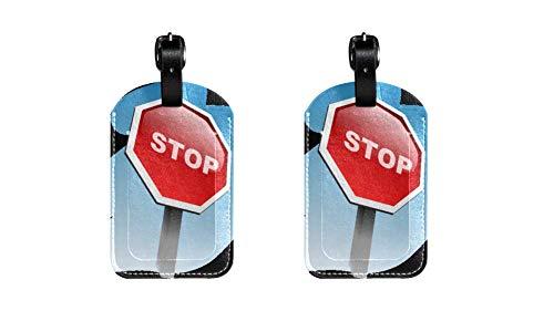 Panneaux de signalisation Étiquettes de Bagages en Cuir de Haute qualité pour Enfants Étiquette de Sac de Voyage pour Enfants 2 pièces 7x11.4cm