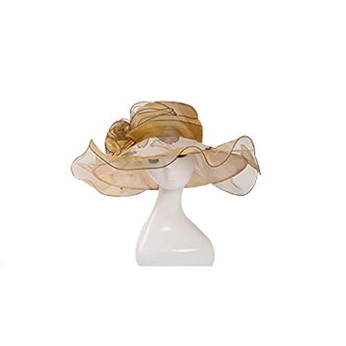 Damenhüte Mode Organza Flacher Zylinder Bestickte Blume Sombrero Frühling und Sommer gelockt Strandhut Größe Verstellbarer Sonnenhut,Gold - Sombrero Gold