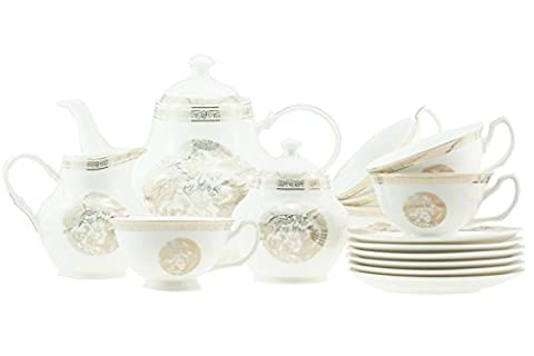 15 Piece Luxury Bone China Oriental Dragon and Phoenix with Gold Rim Tea / Coffee Set for 6 Persons