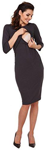 Zeta Ville - Still Kleid Diskretes Schwangere Rundhalsausschnitt - Damen - 972c Graphit