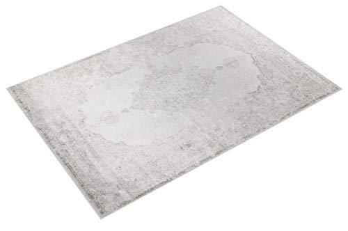 havatex Kunstseide Teppich Vintage Ornament - Anthrazit oder Silber | klassisches Muster modern interpretiert | Ultra Leichter und Softer Flor mit edlem Seidenglanz, Farbe:Silber, Größe:120 x 170 cm