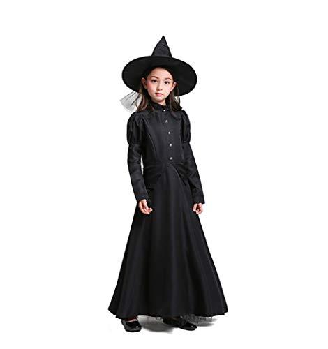 Erwachsenes Kind Halloween-KostüM BüHnenperformance Der Zauberer Von Oz Cos Schwarz Hexe Lange ÄRmel Robe Hexe Spielt ()