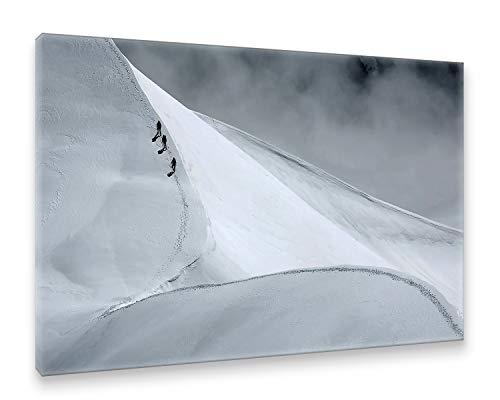 Natur / Schwarz Canvas An (Postereck - Premium Leinwand - 0020 - Seilschaft, Schwarz Weiß Natur Berg Bergsteigen EIS - Größe 75,0 cm x 50,0 cm)