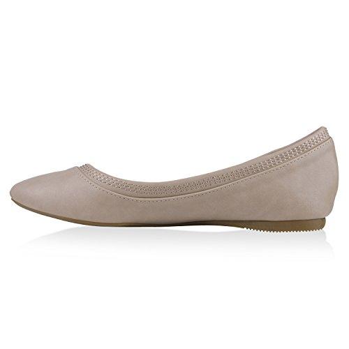 Damen Ballerinas Slipper Slip Ons Absatz in mehreren Farben 36 -41 Creme Glatt