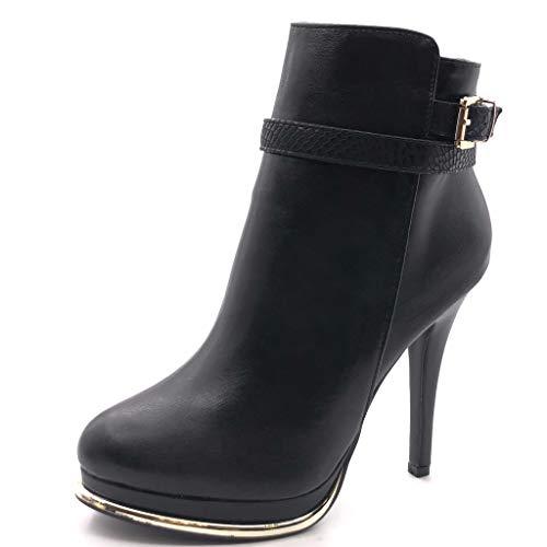 Angkorly - Damen Schuhe Stiefeletten - Plateauschuhe - Sexy - Stiletto - String Tanga - Schlangenhaut - golden Stiletto high Heel 12 cm - Schwarz G200-4 T 39