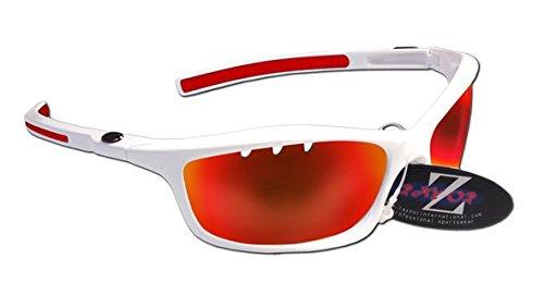 RayZor Professional leichte UV400White Sports Wrap Ski Snowboard Sonnenbrille, mit einem belüfteten rot Iridium verspiegelt Blendfreie Objektiv