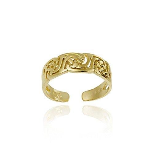 Luxuriöser Zehenring mit keltischen Zeichen, 24 Karat Gold Vermeil