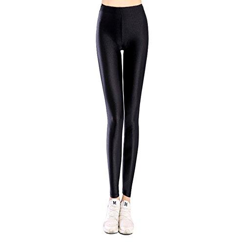 U-chen Damen Schlank Brilliant Stretch Leggings Strumpfhosen Pants Hose Schwarz S/M