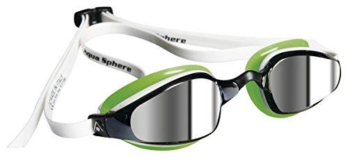 Aqua Sphere K180 - Occhialini da nuoto, lenti a specchio, verde (bianco/verde), N/A
