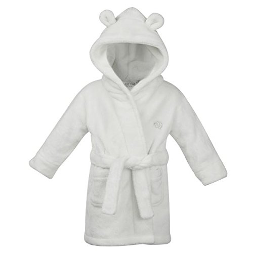 STYLE MIXX Baby Boys Hooded Supersoft Fleece Bath Robe With Ears Girls Heart Dressing Gown (12-18 MONTHS, WHITE 18C204)