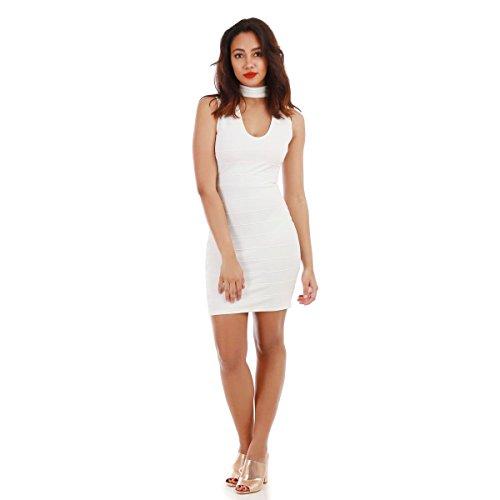 La Modeuse - Robe moulante col choker Blanc